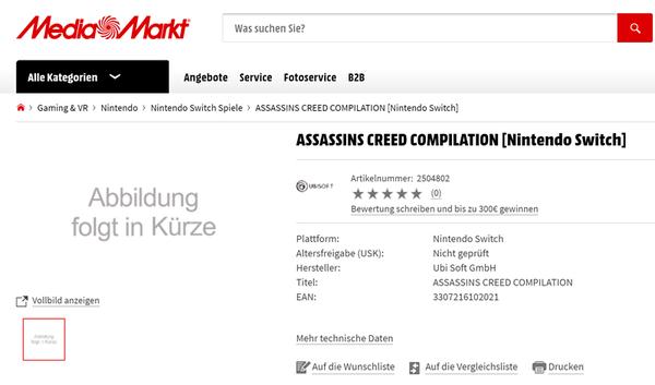 德国网站曝光《刺客信条合集》将登陆PS4/X1/NS