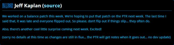 《守望先鋒》總監Jeff:新平衡補丁下周上線PTR