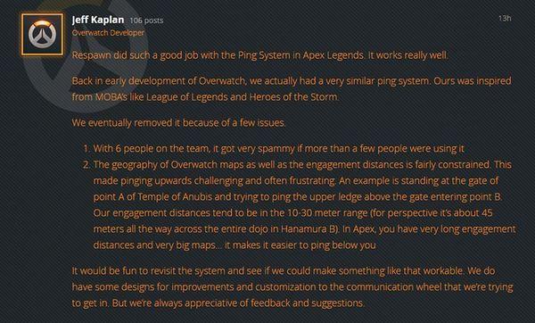 《守望先鋒》游戲總監Jeff:會重新考慮信息系統