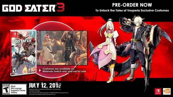 《噬神者3》将于7月12日正式登陆Switch平台