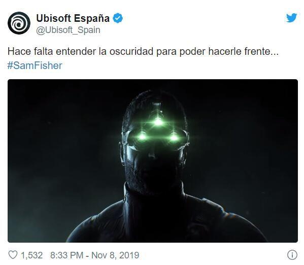 育碧西班牙發布了與《細胞分裂》有關的推特