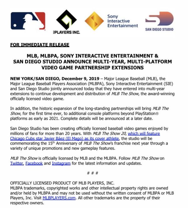 MLB與SIE簽訂延長協議 后續新作將會跨平臺發布