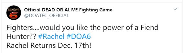 """《死或生6》DLC角色""""蕾切爾""""12月17日上線"""