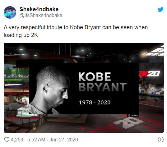 《NBA 2K20》開發者和玩家對科比遇難表示哀悼