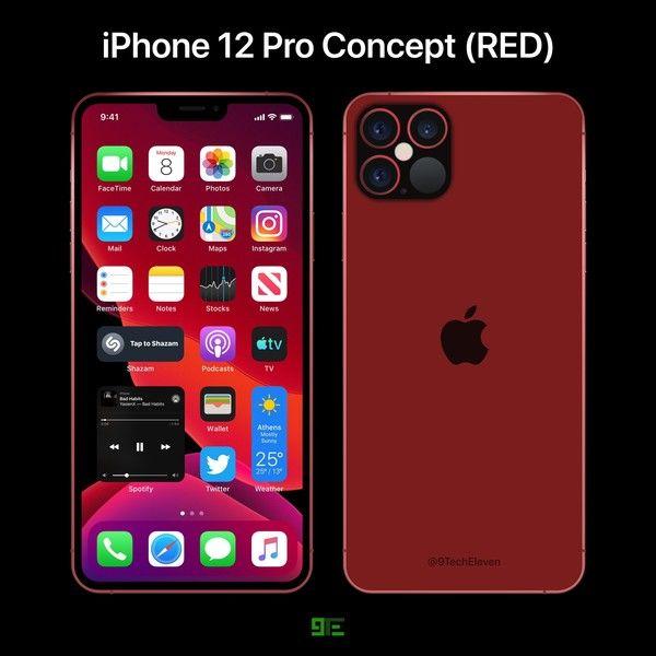 """外媒晒出iPhone 12 Pro最新红色版概念设计图 """"刘海""""变小 机身更加硬朗"""
