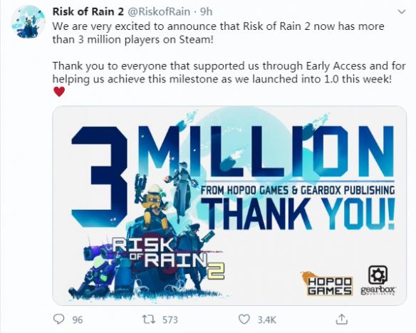 《雨中冒險2》Steam玩家突破300萬 制作組致謝