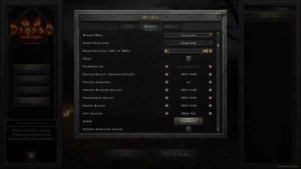 《暗黑2:重制版》畫面設置細節及幀數測試公開