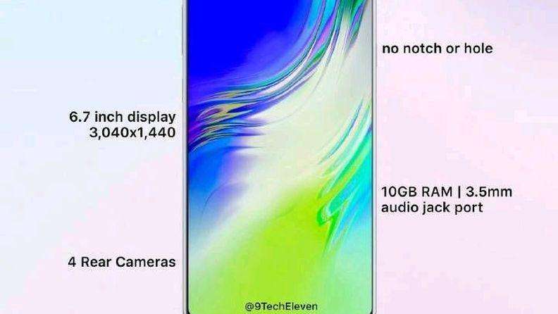 三星Galaxy Note 10配置渲染图曝光:全面屏加升降摄像头