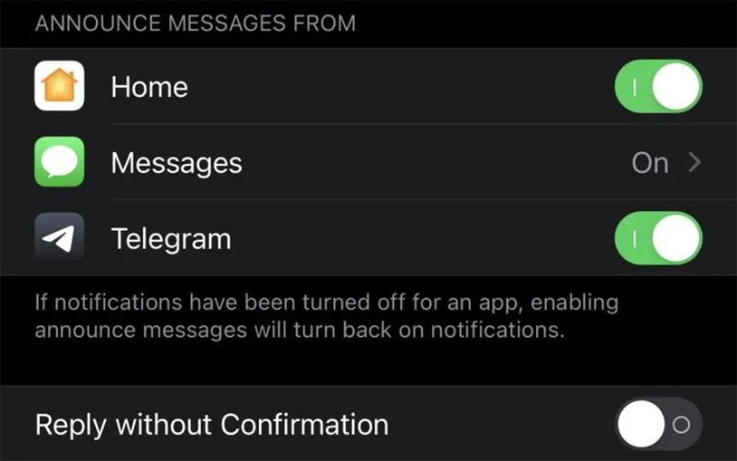 Telegram 可能是第一个支持 Siri 信息播报的第三方应用